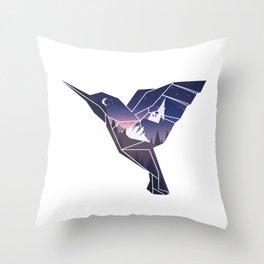 Origami Hummingbird Throw Pillow
