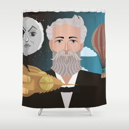 jules verne science fiction retro writer Shower Curtain
