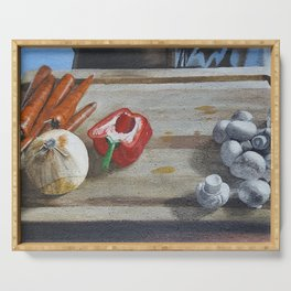 Still Life of Chopping Veggies Serving Tray