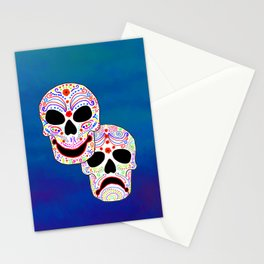 Comedy-Tragedy Colorful Sugar Skulls Stationery Cards