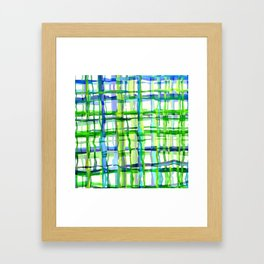 Blue Green Plaid Wash Framed Art Print