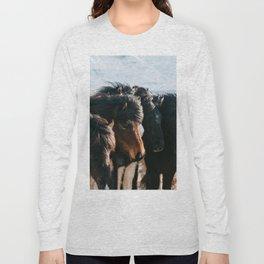 Horses in Iceland - Wildlife animals Long Sleeve T-shirt