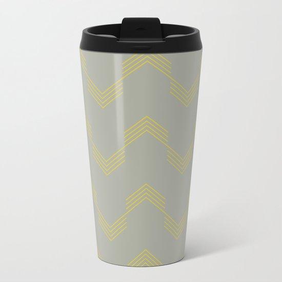 Simply Deconstructed Chevron Mod Yellow on Retro Gray Metal Travel Mug