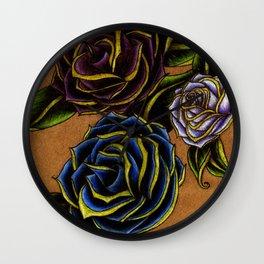 Bold, Elegant Roses Tattoo Design Wall Clock