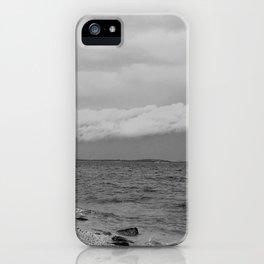 thunderstorm approaching at peroj beach croatia istria black white iPhone Case