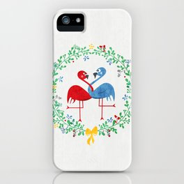 FlamingosTangled in Love iPhone Case