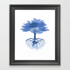 Heart Tree - Blue Framed Art Print