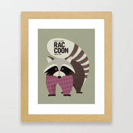 Hello Raccoon Framed Art Print