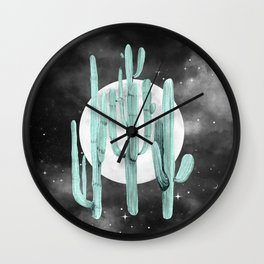 Cactus Nights Full Moon Starry Sky Sage by Nature Magick Wall Clock