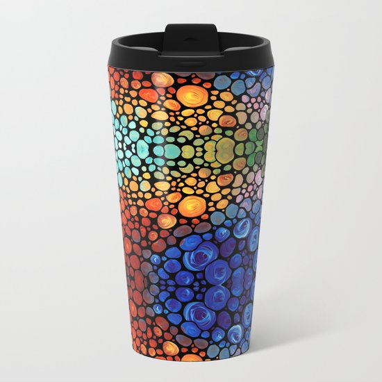 Abstract 1 - Beautiful Colorful Mosaic Art by Sharon Cummings Metal Travel Mug