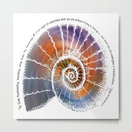 The Nautilus Shell Transparent - Quote Metal Print