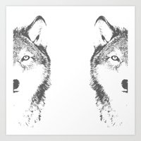 wolves Art Prints featuring WOLVES by Aonair Designs