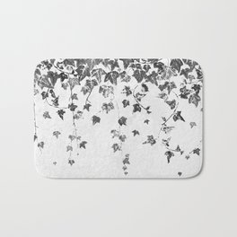 Hand Printed Black and White Trailing Ivy Bath Mat