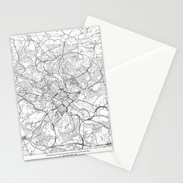 Leeds Map White Stationery Cards