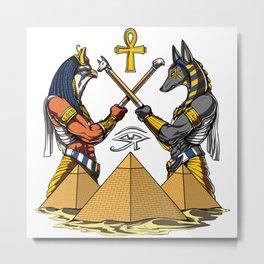 Anubis Horus Egyptian Gods Ankh Pyramids Metal Print