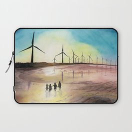 Cheerful Bond , Windmill , Cheerful , Friendship , Sunset Art Watercolor Painting by Suisai Genki Laptop Sleeve