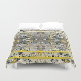 Passion Flower Baroque in Gold Yellow Grey Duvet Cover