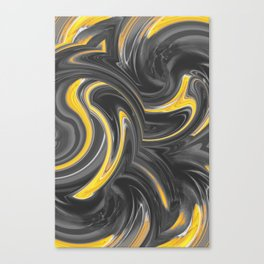 yellow and black spiral painting abstract Canvas Print