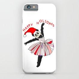 Happy Holidays Secret Santa Panda Ballerina iPhone Case