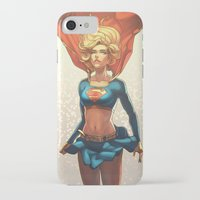 supergirl iPhone & iPod Cases featuring Supergirl III by Caleb Thomas