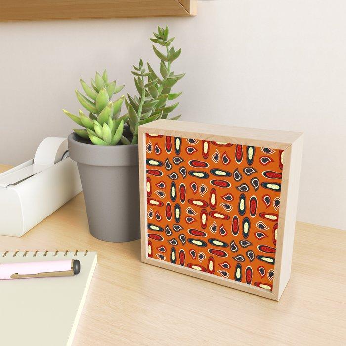 Orange paisley Framed Mini Art Print