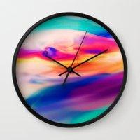 aurora Wall Clocks featuring Aurora by Kimsey Price