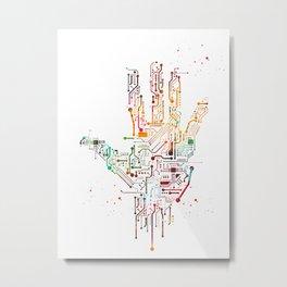 Circuit Hand Metal Print