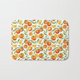orange pattern tangerine citrus print Bath Mat