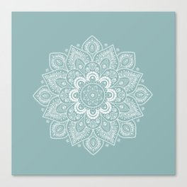 Temptation Mandala on Milky Blue Background Canvas Print
