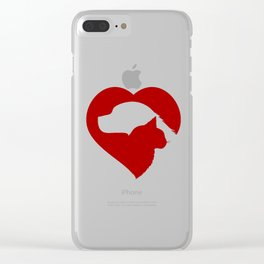 Pet Rescue Cat and Dog Red Heart of Love Clear iPhone Case