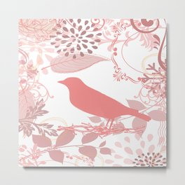 Vintage Look Pink Bird. Metal Print