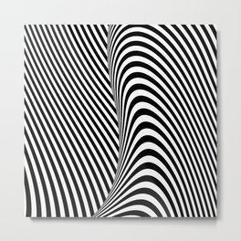 Black and White Pop Art optical illusion lines Metal Print