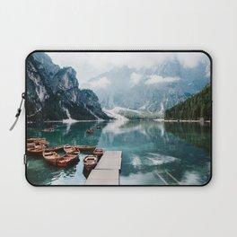 Perfect Scenic Nature View Lake Braies\ Mountain Foggy Sunrise Beautiful Backpacking Landscape Photo Laptop Sleeve