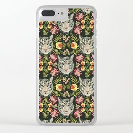 White Tiger Pattern / Black Background Clear iPhone Case