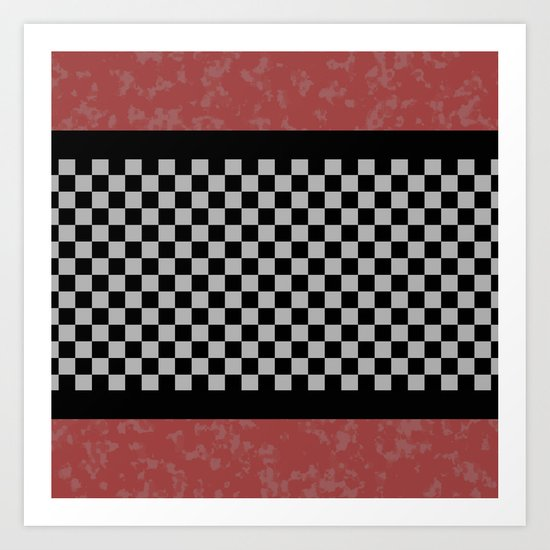 BW Checkered/Coral Art Print