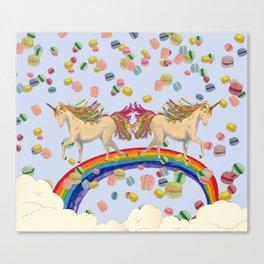 Rainbow unicon and macalon Canvas Print