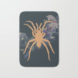Gold Spider Exotic Tropical Collage Black Jungle Bath Mat