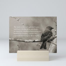 The Quest:  Black and White Bird Antiqued Mini Art Print