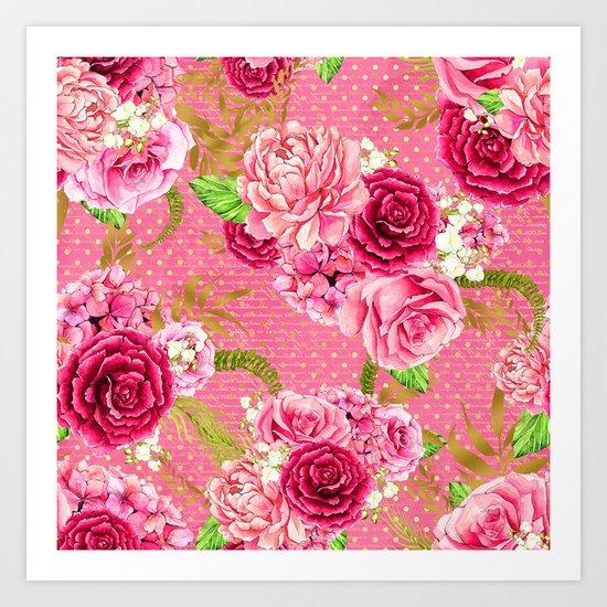 Pink Roses Pattern 07 Art Print