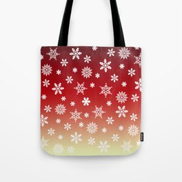 Snow Flurries-Red/Cream Ombre Tote Bag