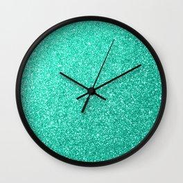 Aquamarine Aqua Blue Sparkly Glitter Wall Clock