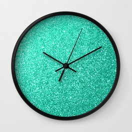 Aquamarine Aqua Blue Sparkly Glitter Wall Clock