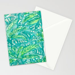 Turquoise & Lime Leaves Stationery Cards