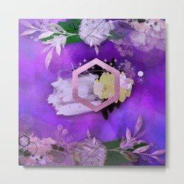 Beautiful ultra violet floral collage Metal Print