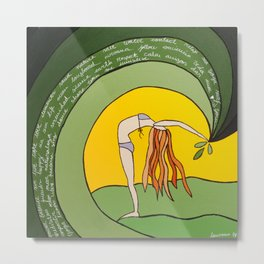 green yoga Metal Print