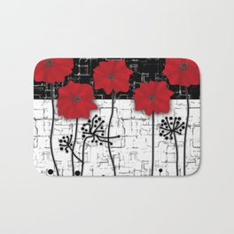 Retro. Red poppies on white background sulfur. Applique. Bath Mat