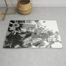 Sunflowers in Winter, Early Morning B&W Rug