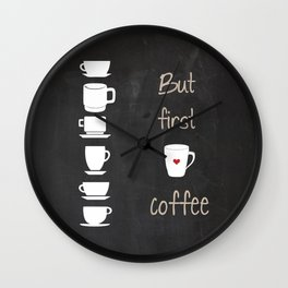 But First Coffee Black and White Print, Kitchen Art Printable, Wall Decor Print Typography Poster Di Wall Clock