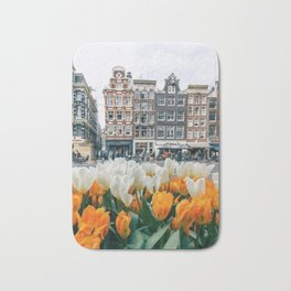 Houses and tulips Bath Mat