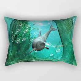Swimming dolphin Rectangular Pillow
